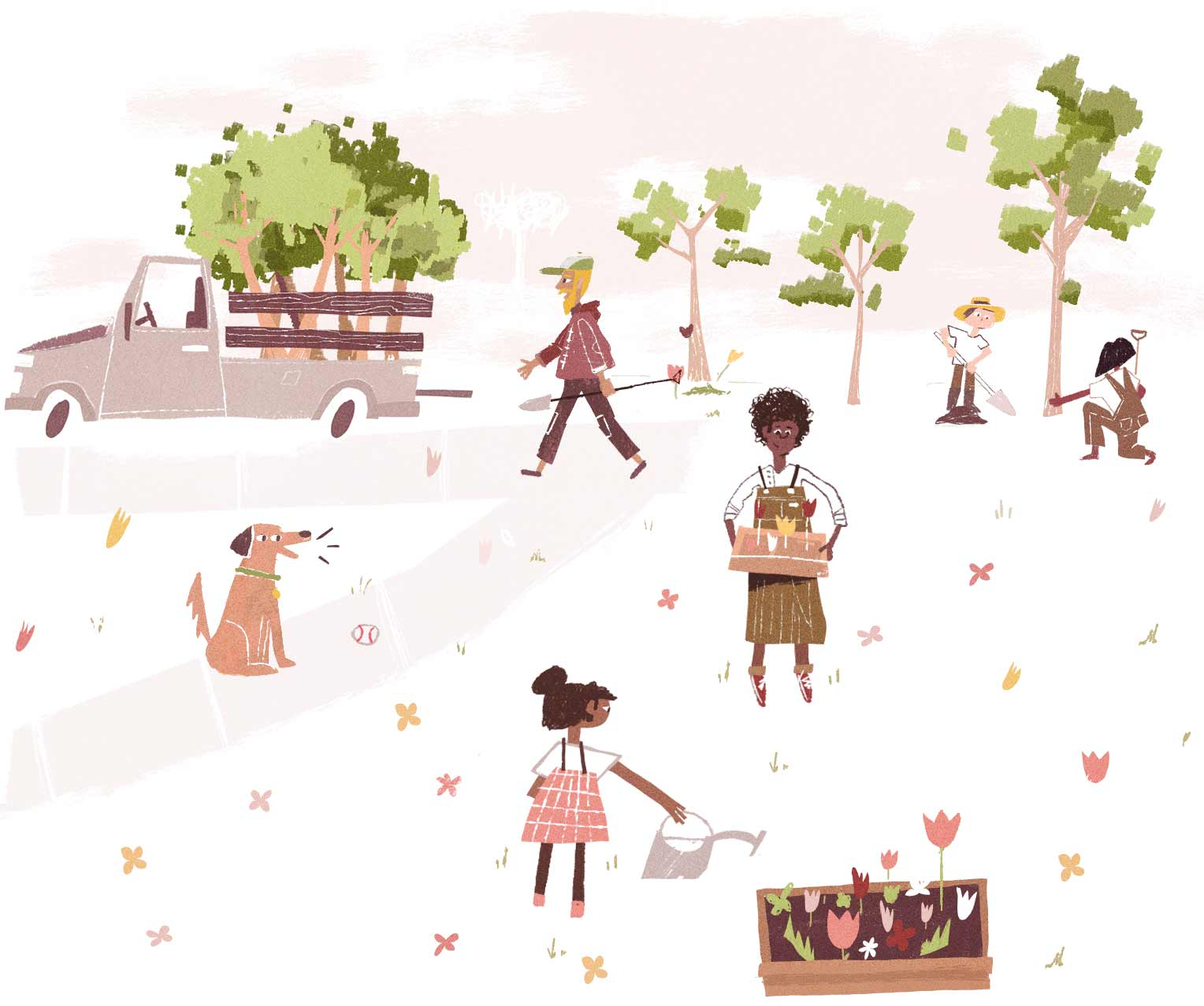 Event Management - Community Members Cleaning a Park Illustration