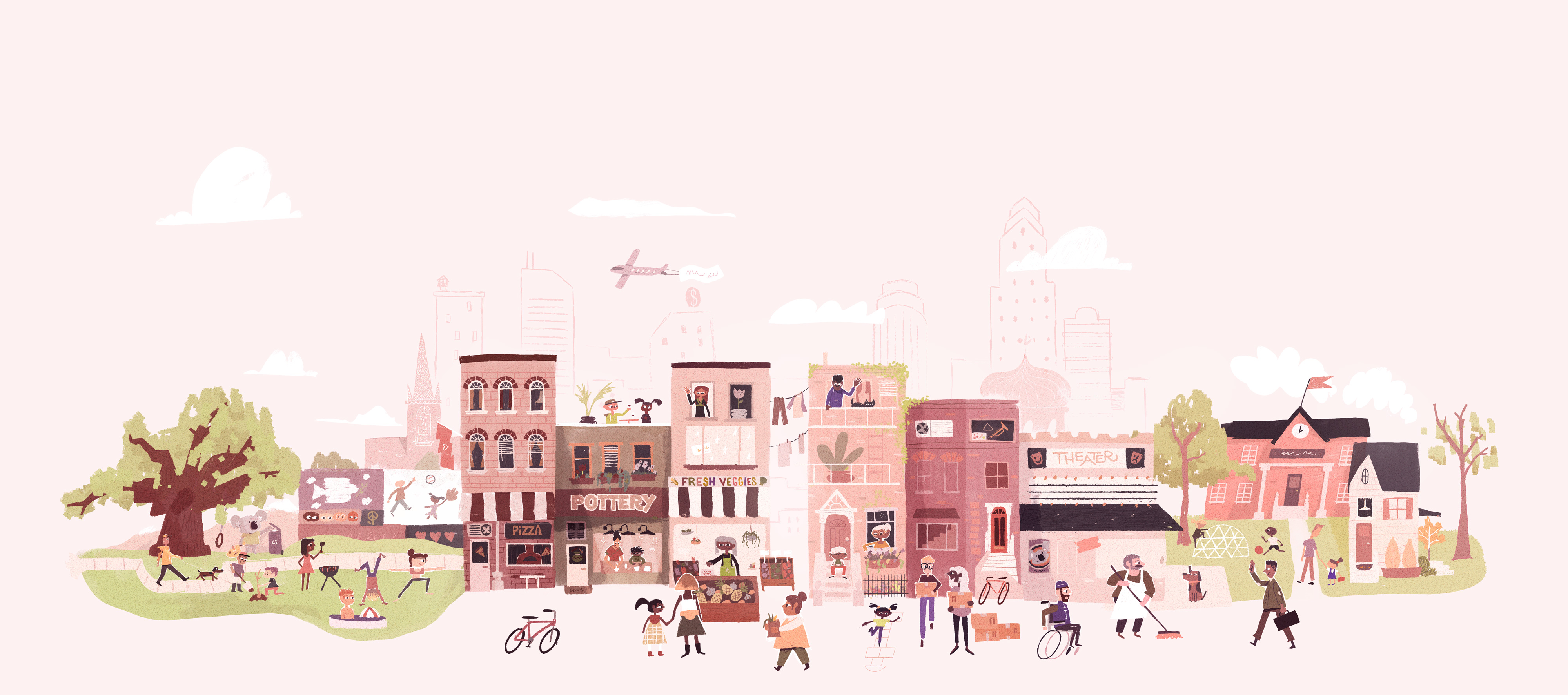 Happy People in the Community Illustration