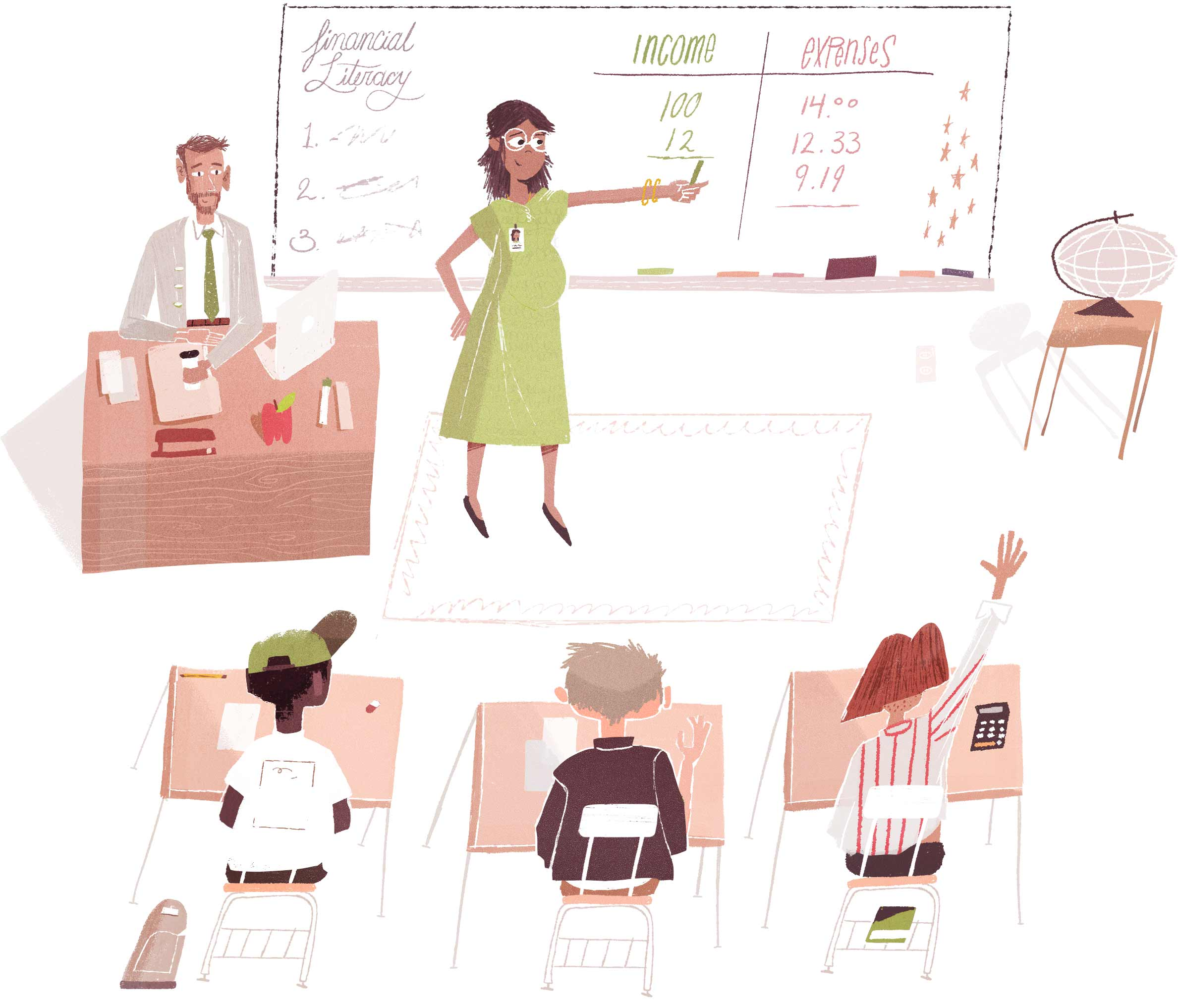 Volunteer Service Tracking - Teaching a Financial Literacy Class Illustration